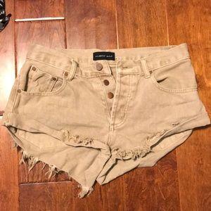 Tan denim shorts
